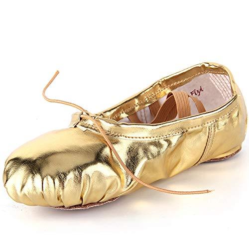 32 Spalte (Ballettschläppchen Mädchen Ballettschuhe Damen Gymnastikschuhe Kinder Ballerinas Tanzschuhe Ballett Schläppchen, Gold, Größe 32)
