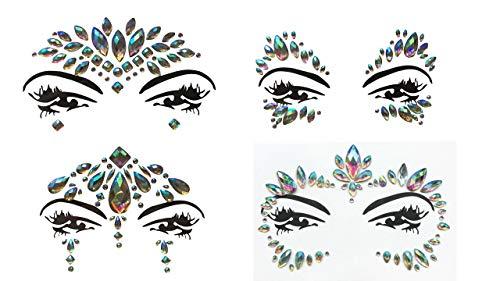 Gesicht und Körper Juwelen Edelstein Aufkleber MAKE-UP für Party Festival Shows 4 Stück Set Regenbogen