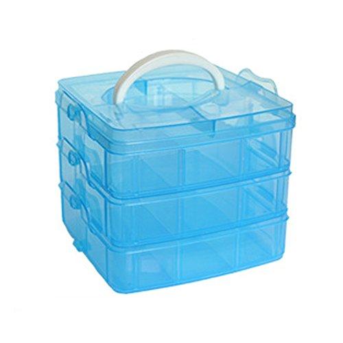 3-lagige Aufbewahrungsbox aus Kunststoff, 18 Fächer, Box für die organisierte Aufbewahrung von Bastelzubehör, Nähgarn, Schmuck, Werkzeug, Nagellack und anderen Utensilien. Free Size blau -
