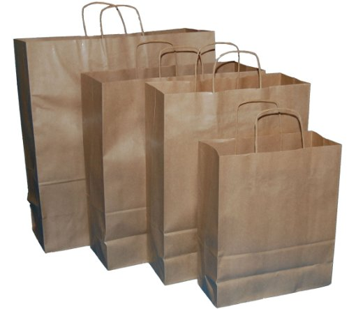 250 BROWN TWIST HANDLE PAPER CARRIER BAGS 12.5