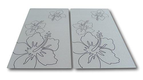 MQ 2 Stück Ceranfeld Induktion Abdeckplatte Glas Schneidebrett Herdabdeckung Blumen