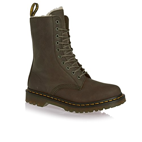 Dr. Martens 1490 FL 10 Eye Boot Grenade Green Wildhorse Marron