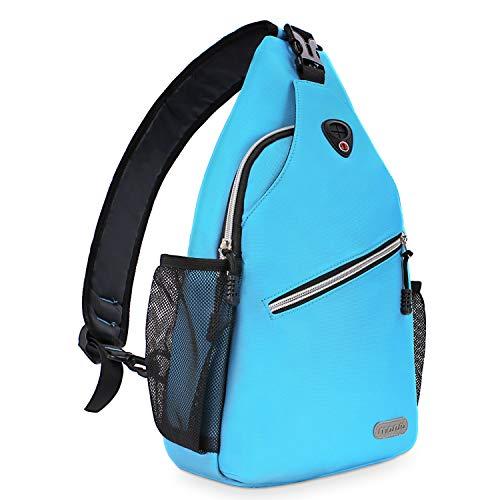 MOSISO Brusttasche Sling Rucksack Schultertasche, Polyester Crossbody Umhängetasche Sporttasche Kompatibel Herren Damen Mädchen Jungen Reise Daypack, Himmelblau