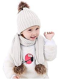 175c99e47595 2pcs bébé chapeaux et écharpes tricoté hiver bonnet de pom pom bonnet  écharpe cache-cou