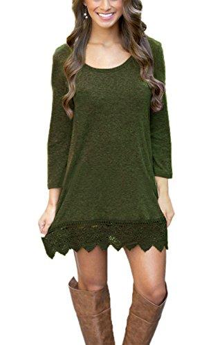 Summer Mae Damen A-line Lace Quaste Beiläufigkeit Herbst Kleid Retro-Look Dress Olive