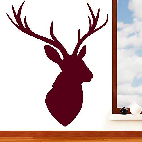 Tête de cerf Silhouette Sticker mural - Art Stickers muraux en vinyle, Salle de Bain, chambre, salon, facile à appliquer, sans applicateur, facile - enlever (Veuillez Choisir votre taille et couleur à l'aide Sélection Boîtes) - par Rubybloom Designs, bordeaux, Medium 66cm x 81cm