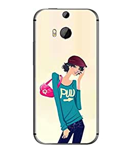 FUSON Designer Back Case Cover for HTC One M8 :: HTC M8 :: HTC One M8 Eye :: HTC One M8 Dual Sim :: HTC One M8s (Morden Lady Tshirt Jeans Cap Beautiful Girly)