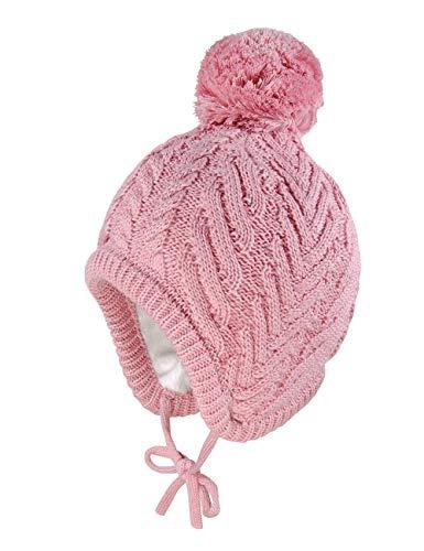 maximo Baby-Mädchen mit Plüschfutter und Pompon und Bindeband Mütze, Rosa (Altrosa 17), (Herstellergröße: 49/51)