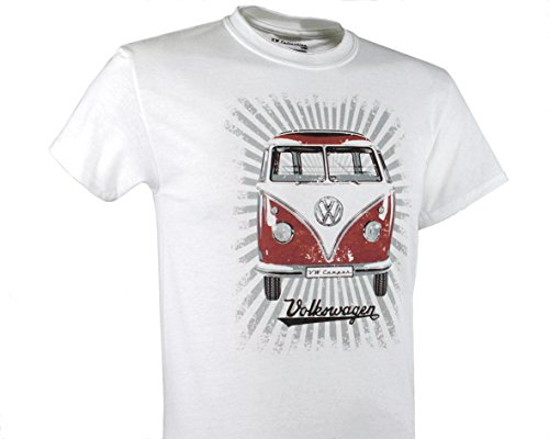 VW Collection by BRISA T-Shirt Volkswagen Bus T1 Unisex Strahlen/Rot/Weiss