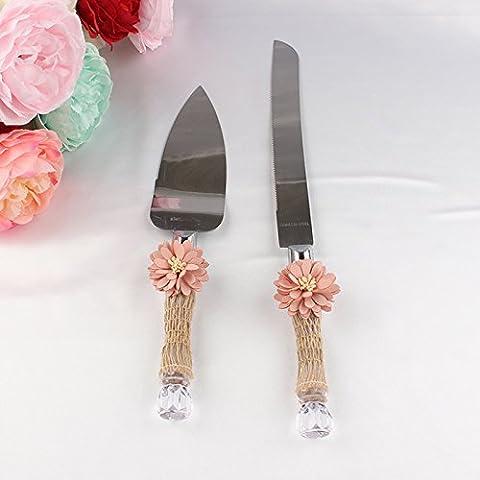 Lugii Cube Pelle avec filet de fibre naturelle faite à la main en forme de fleur 1serveur Ensemble de couteau à gâteau en acier inoxydable