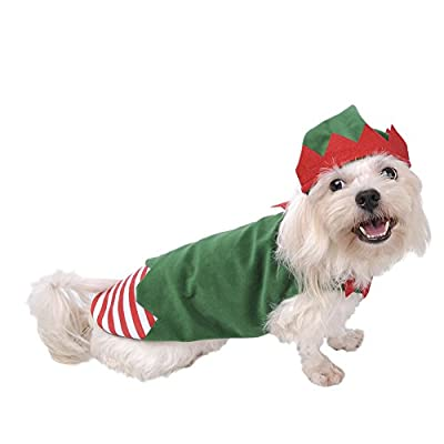 Awhao Dog Elf Costume Christmas Clothes Hat and Coat Pet Outfit