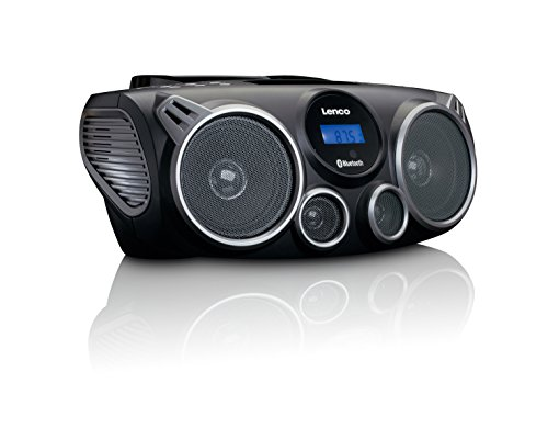 Lenco tragbarer CD-Player SCD-100 BK mit Bluetooth MP3-Player (USB, SD-Kartenleser, AUX, Kopfhörer-Anschluss, Fernbedienung) schwarz/silber