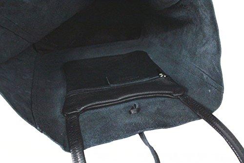 LEATHERWORLD Shopper / Schultertasche / Beutel aus hochwertigem Leder LT037 hellgrau Schwarz
