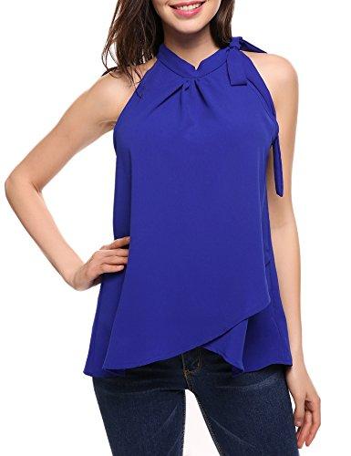 ACEVOG Damen Frühling Chiffon Bluse Oberteile Casual Freizeitshirt Tops mit 3/4 Ärmel  Strand oberteile XL- EU 42 D Blau