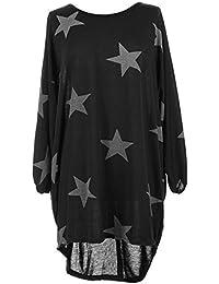 Femme Tunique T-shirt Robe Longue à Étoiles Imprimées à Manche Chauve Souris High Low Hem Grande Taille Casual