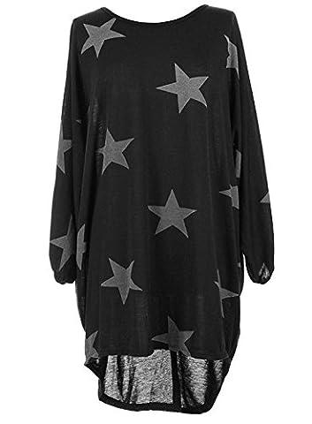 Femme Tunique T-shirt Robe Longue à Étoiles Imprimées à Manche Chauve Souris High Low Hem Grande Taille Casual (XL, Noir)