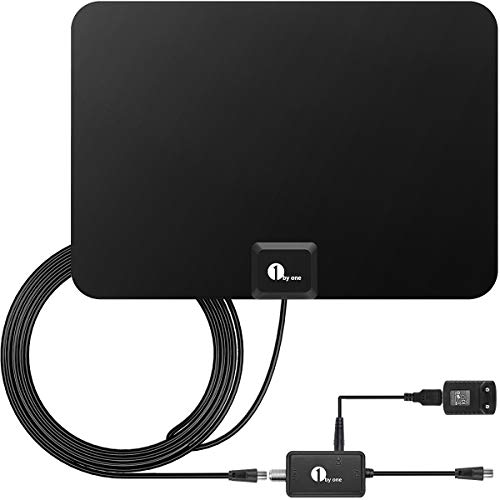 Activo 28dB Antena interior para DVB-T DTT VHF/UHF/FM, HDTV con amplificador desmontable 1byone Antena con soporte de antena, 80 KM de rango , 3 metros de cable coaxial de alto rendimiento