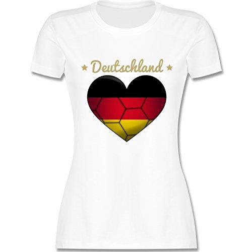 Handball WM 2019 - Handballherz Deutschland - M - Weiß - L191 - Damen Tshirt und Frauen T-Shirt
