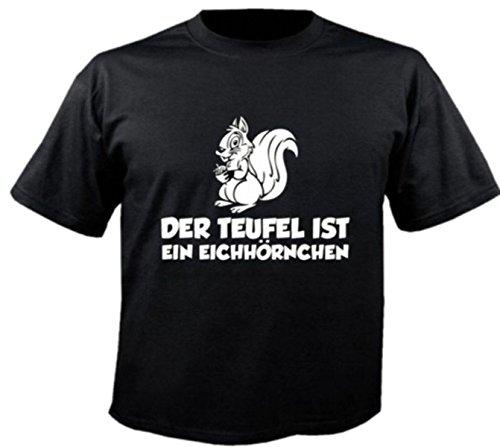 Motiv Fun T-Shirt Der Teufel Ist Ein Eichhörnchen Spass Motiv Nr. 2998 Schwarz