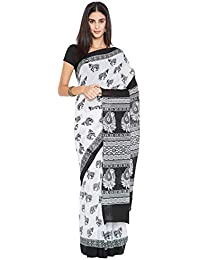 a6d10c91ed Kalakari India - Finest Quality Cotton - Handmade Black and White -  Minimalistic block print Saree