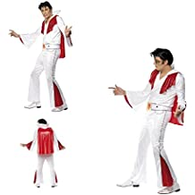Fancy Dress Four Less Elvis Presley Disfraz de adulto, color blanco y rojo, con