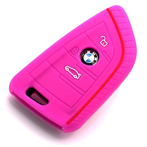 Schlüssel Hülle BD für 3 Tasten Auto Schlüssel Silikon Cover von Finest-Folia (Neon Pink)