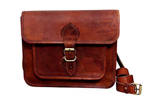9 'handgemachte braune Lederhandtasche Vintage-Stil echte braune Lederhandtasche Satchel Baguette