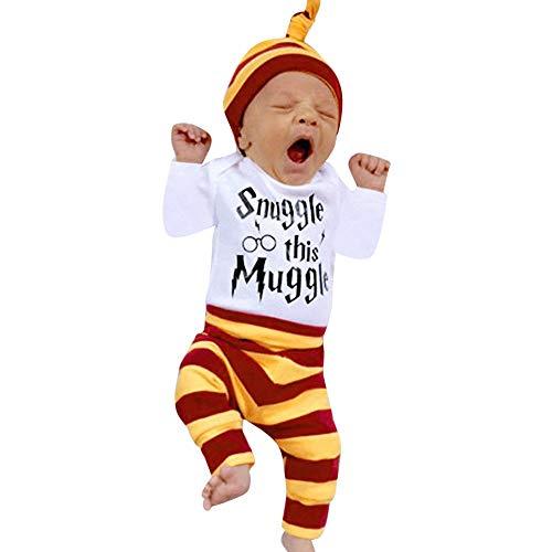 Baby 3 Stück MEIbax Neugeborenes Jungen Mädchen Striped Brief Print Langarmshirt Tops + Pants...