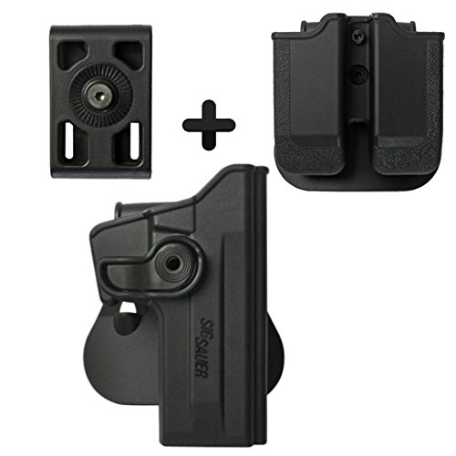IMI Defense Z1070 Tactical Combo Kit Roto Retention Paddle Holster + Double Magazine Pouch + Belt Holster Attachment For Sig Sauer 226 (9mm/.40/357), P226 Tactical Operations (Tacops) Pistol Handgun -