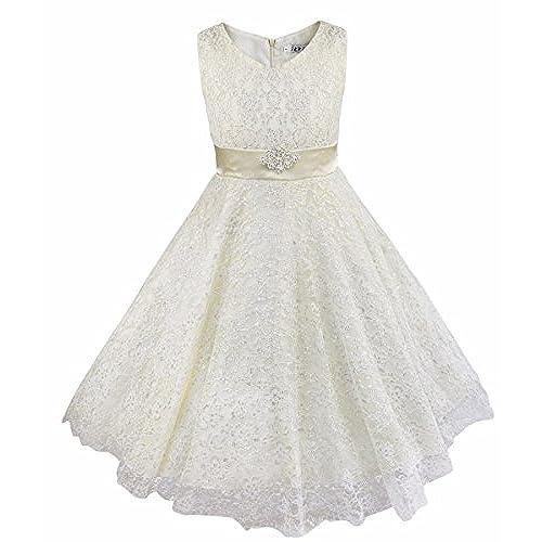 YiZYiF Lace Tulle Flower Girl Dresses Kid Sleeveless Wedding Formal Bridesmaid Party Princess Dress Ivory 5 6 Years