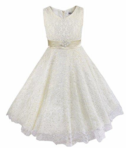 YiZYiF Mädchen Kleid Blume Spitzenkleid Tee Länge Brautjungfernkleider Party Hochzeit Festzug Elfenbein 128 (Rock Elfenbein Mädchen)