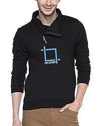 Campus Sutra Black Mens Shawl Neck Printed Sweatshirt (AW15_HCWL_M_OCR_BL_L)