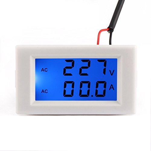 240v Verdrahtung (DROK® AC 110V / 240V Digitale Voltmeter Amperemeter 100-300V / 0-50A Voltage Meter Current Meter Blaue LCD Dual-Display-Panel-Volt-Tester Stromüberwachung mit integriertem Stromsensor)