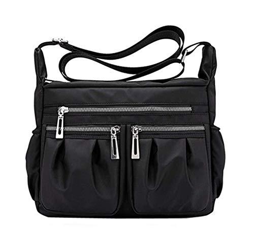 Gjfhome Damen Handtasche, Leichte wasserdichte Nylon Crossbody Messenger Handtasche Umhängetasche Reisegeldbörse,Black