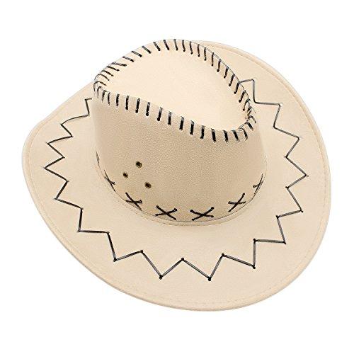 GHONLZIN Cowboy Hut Cowgirl Hüte mit breiter Krempe, Unisex Kappe mit verstellbarem Kinnriemen Outdoor Hut zum Angeln, Wandern, Safari, Reisen, Sommer ()