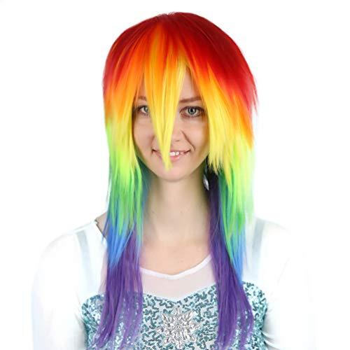 lay Regenbogen Perücke, lange glatte Haare Perücke für Frauen Keine Spitze Halloween Kostüm Kostüm Synthetische Volle Perücke Neue Mode Hitzebeständige Natürlich Aussehende ()