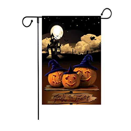VICKY-HOHO Halloween Garten Flagge Kürbis doppelseitige Sackleinen Banner Outdoor Rasen Dekor Flagge -