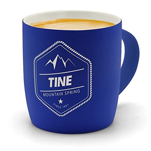 printplanet - Kaffeebecher mit Namen Tine graviert - SoftTouch Tasse mit Gravur Design Mountain Spring - Matt-gummierte Oberfläche - Farbe Blau - Tine Spring