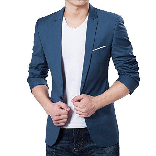 Vobaga Herren Blazer Casual Jacke One Button Slim Fit Geschäft Anzugjacken Blau