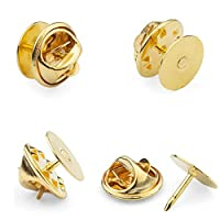 ASelected 100 Pairs Butterfly Clutch Metal Pin Backs - Lapel Badge Backs Replacement with Horse Thorn Needle - Gold
