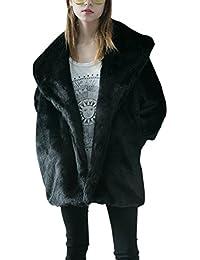 iBaste Moda Mujer Abrigo Larga Chaqueta de Pelo Otoño e Invierno Mangas de Murciélago Pelo Sintético