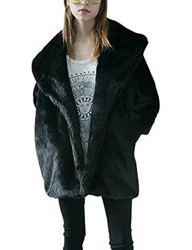 iBaste Moda Mujer Abrigo Larga Chaqueta de Pelo Otoño e Invierno Mangas de Murciélago Pelo Sintético Diseño de...
