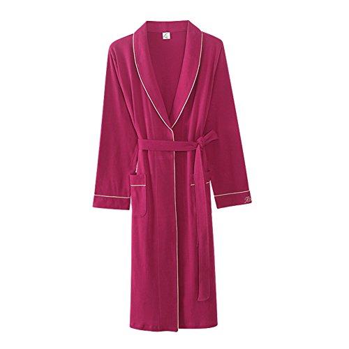 Wangs Ladies Robe Long Sleeve 100% Cotton Bath Robe Thin Sexy Bathrobe Plus Size Nightwear