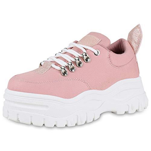 SCARPE VITA Damen Chunky Sneaker Plateau Turnschuhe Glitzer Schuhe Schnürer Modische Freizeit Schnürschuhe Profilsohle 180498 Rosa 39