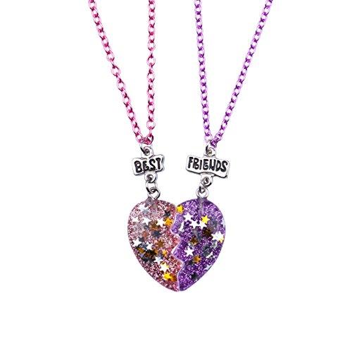 Skywisewin Trennen Herz Halsketten für Kinder, Diese BFF Halsketten ist Kinder Packung mit 2 Stück