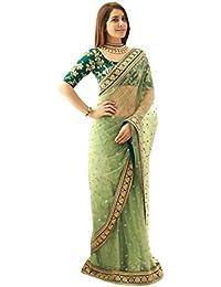 Swara Fashion Nylon Mono Net Saree (Sfpsn-14_Green)