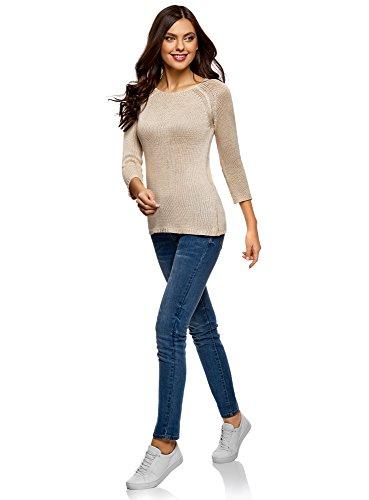 oodji Ultra Damen Pullover Basic mit Rundhalsausschnitt Beige (3300N)