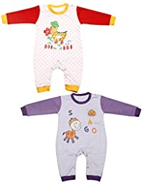 Babeezworld Baby Full Sleeve Diaper Friendly Printed Cotton Romper Sleeping Suit Set for Boy's & Girl's (Combo Pack Of 2)5011297001240