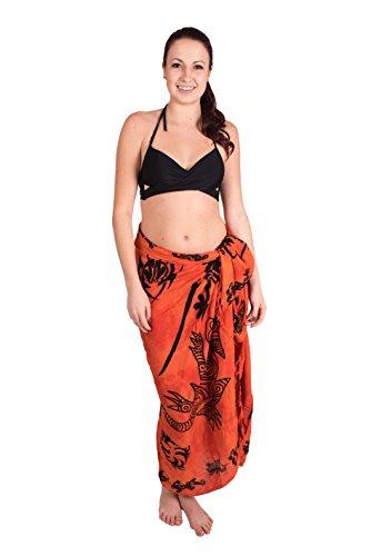 Ca 60 Modelle Sarong Pareo Wickelrock Strandtuch Tuch Wickeltuch Handtuch Bunte Sommer Muster Set Saunatuch + Schnalle Schließe Gecko Tribal Orange + Schnalle