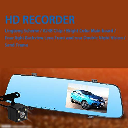 Ronshin Autozubehör, 11,4 cm, 2,4D Glasspiegel, Driving Recorder, Doppellinse, Nachtsicht, Rückspiegel, Fahrtenrecorder mit Rückfahrkamera -